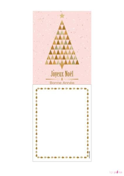 Carte de voeux rose pastel sapin