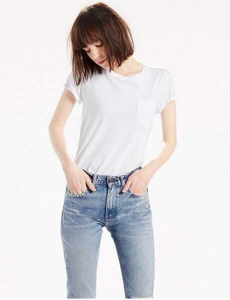 T-shirt blanc : poche