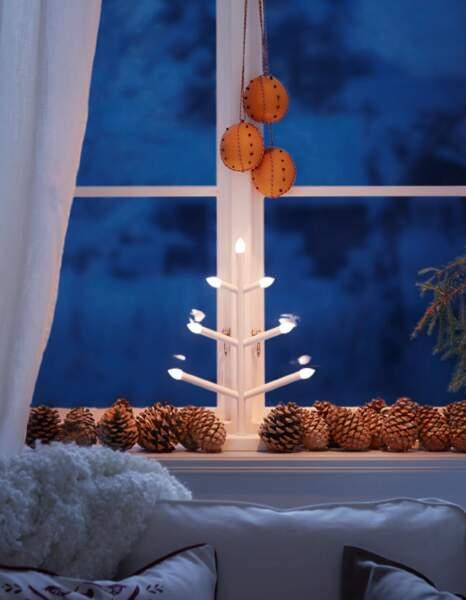 Je décore ma fenêtre avec... des pommes de pin
