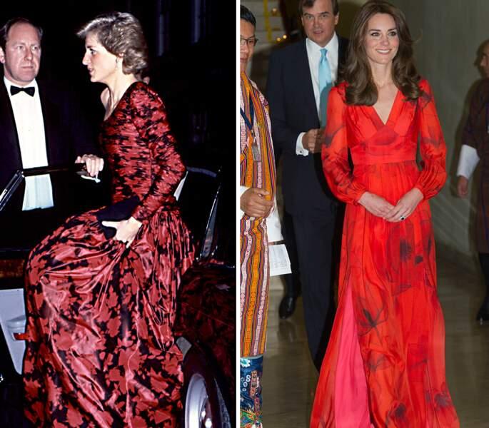 ...robe longue rouge imprimé...
