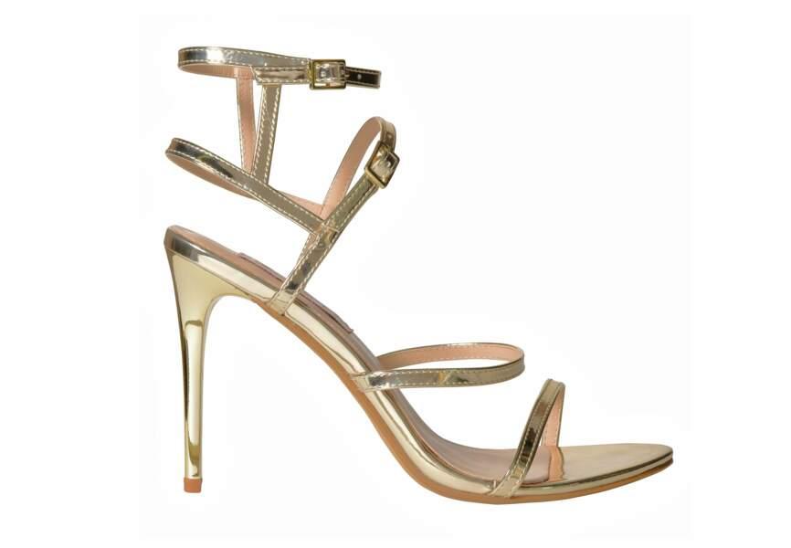 Chaussures de soirée : les sandales en or