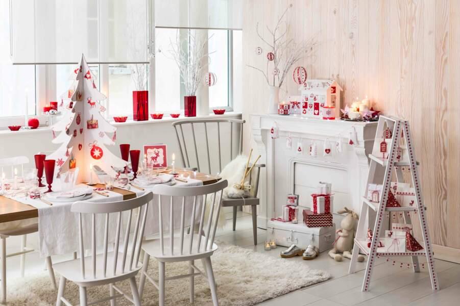 Un Noël traditionnel en rouge et blanc