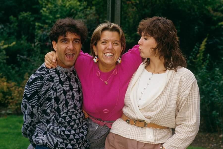 Michèle Bernier en compagnie d'Yvan Burger et Mimie Mathy lors du Petit Théâtre de Bouvard en 1990.