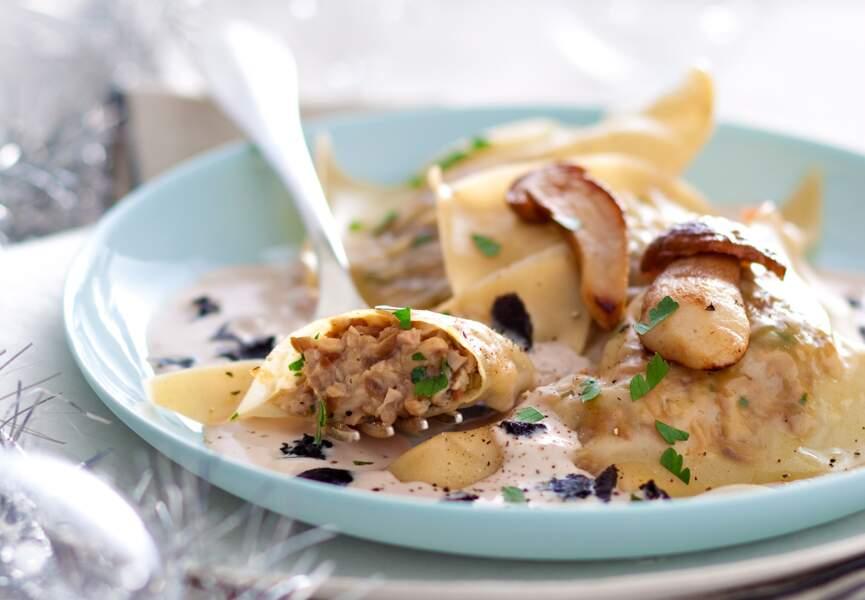 Les raviolis aux cèpes, sauce foie gras