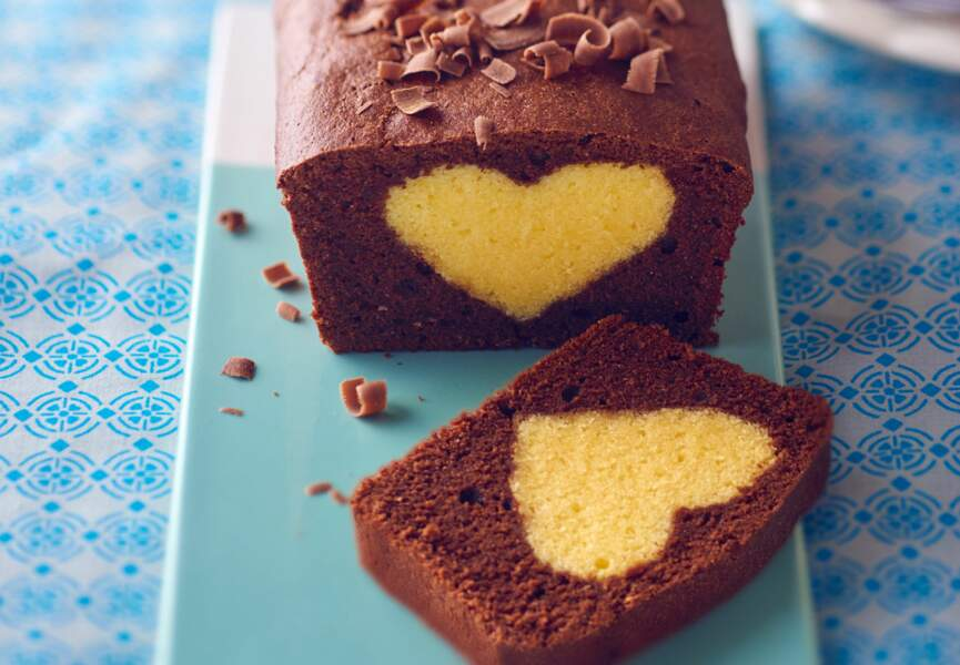 Cake au chocolat cœur blond