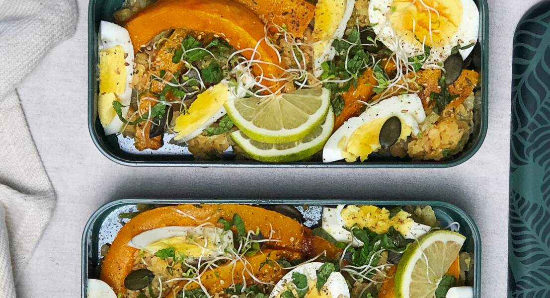 Salade de lentilles corail aux œufs durs, potiron et fenouil rôtis