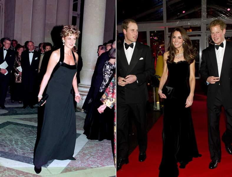 ...robe longue noire avec pochette assortie...
