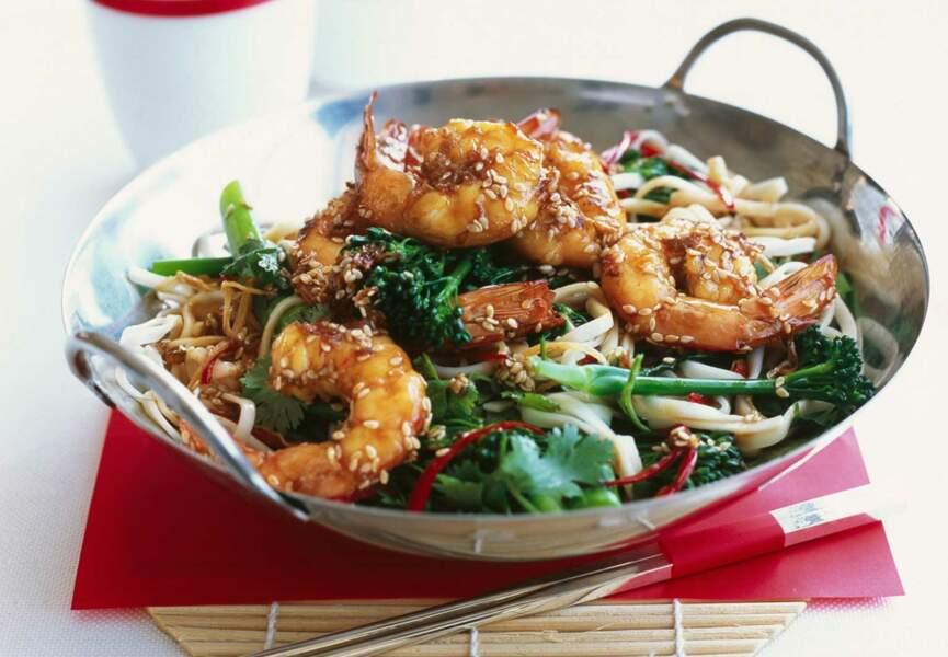 Crevettes sautées au sésame au wok