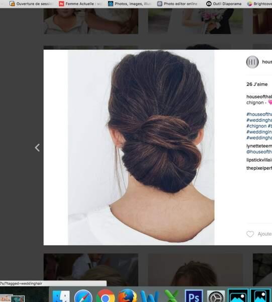 Coiffure de mariage pour cheveux longs : le chignon intemporel