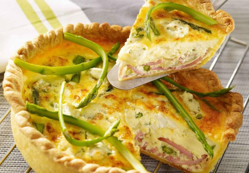 Quiche au râpé de jambon, fromage frais et asperges