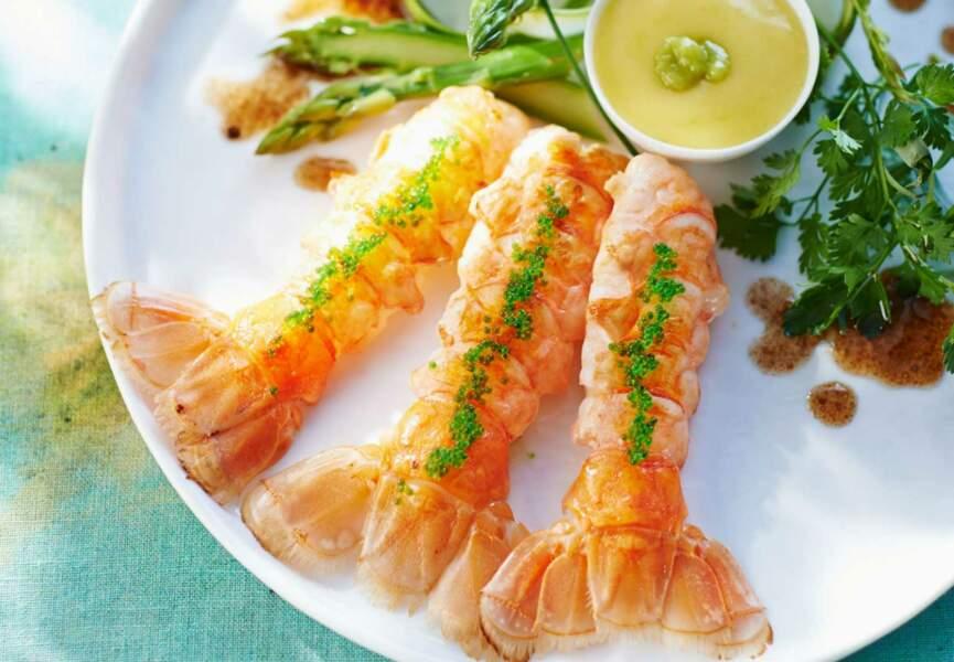Langoustines tièdes, mayonnaise légère au wasabi
