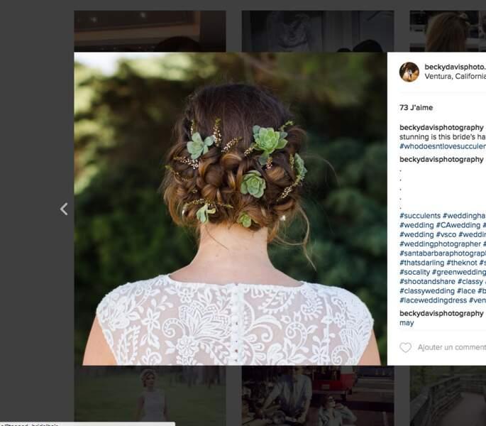 Coiffure de mariage pour cheveux longs : le chignon végétal