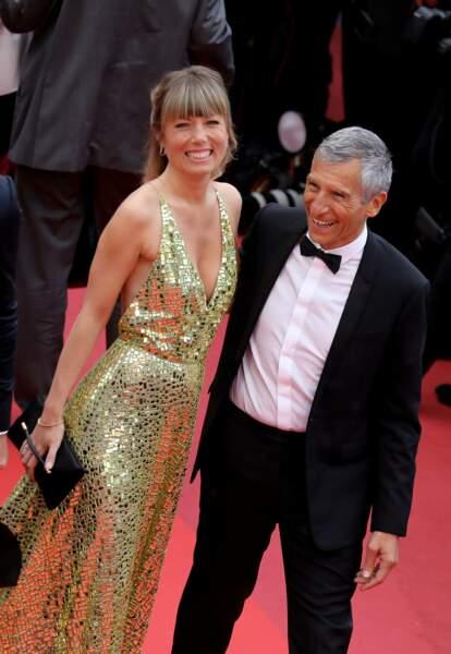 Nagui et son épouse Mélanie Page, sublime en robe or