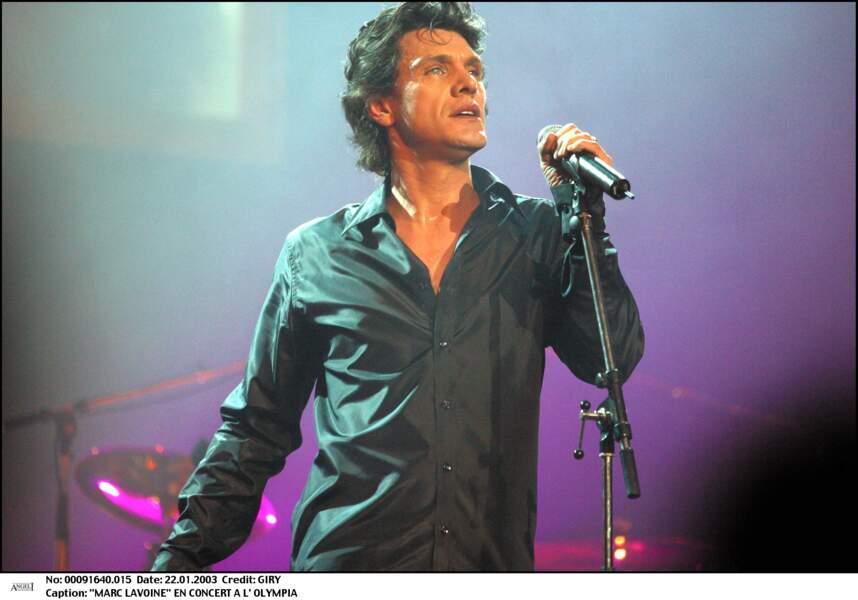 Marc Lavoine en concert à l'Olympia le 22 janvier 2003.