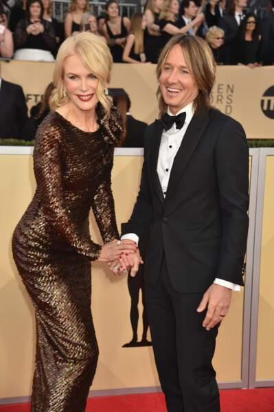 Nicole Kidman et Keith Urban à la cérémonie des Screen Actors and Guild Awards le 21 janvier 2018.