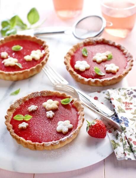 Tartelettes fondantes fraise basilic