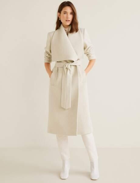 manteau femme blanc laine