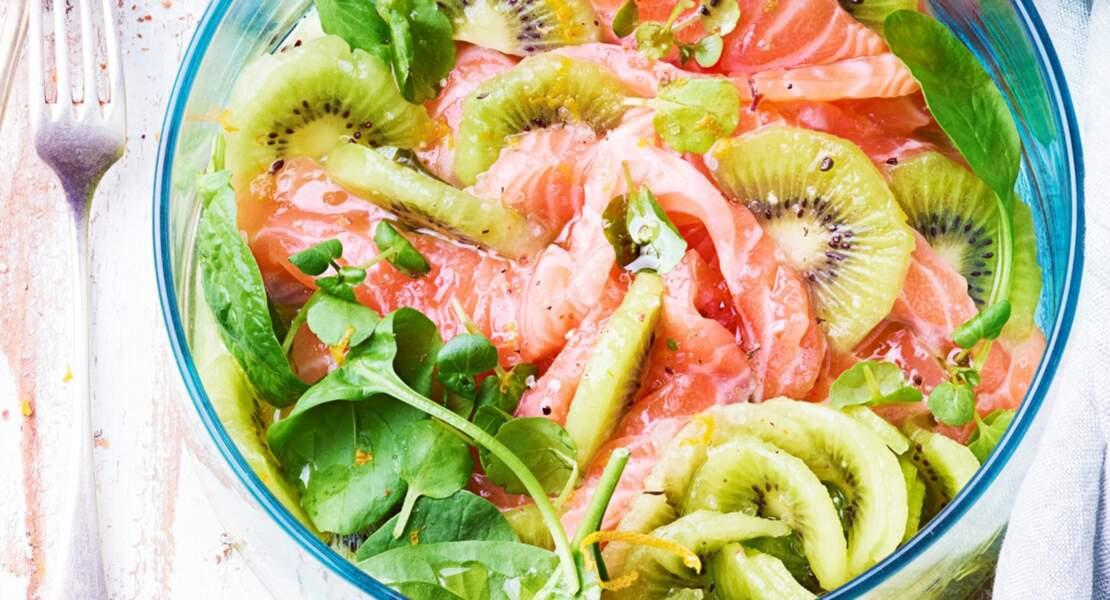Salade de kiwis et saumon mariné