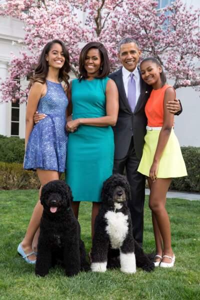 La famille Obama avec les 2 chiens, Bo et Sunny en 2015