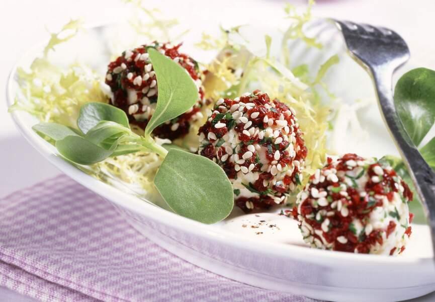 Boulettes de fromage panées aux cranberries