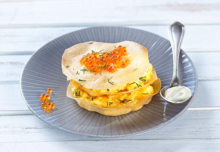 Croustillant d'œufs terre et mer