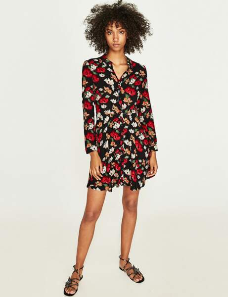 Robe chemise : fleurie