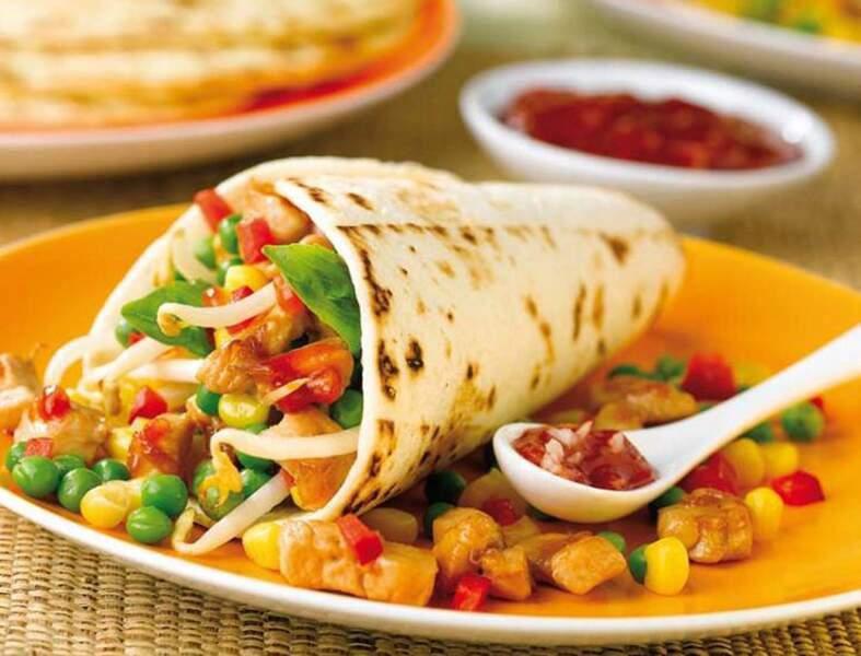 Tortillas de blé aux dés de poulet
