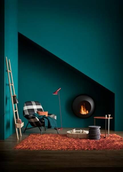 Un salon turquoise