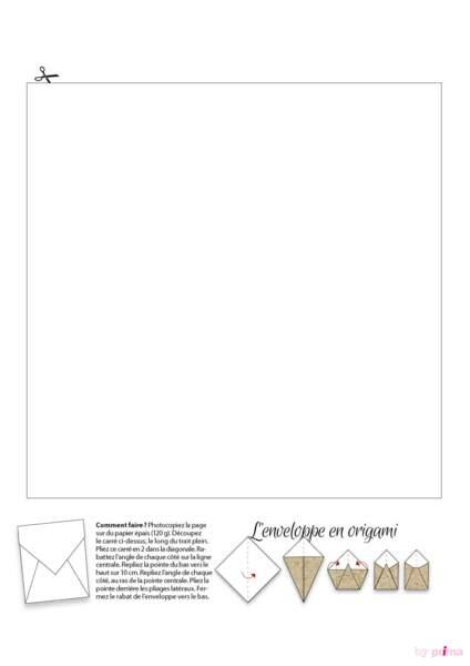 Gabarit enveloppe en origami