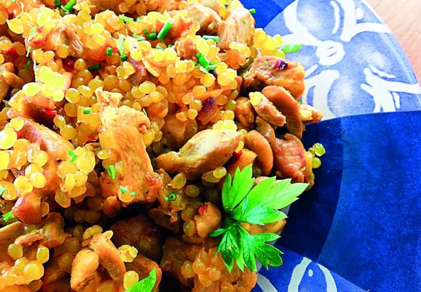 Riz de konjac sauté de poulet aux oignons