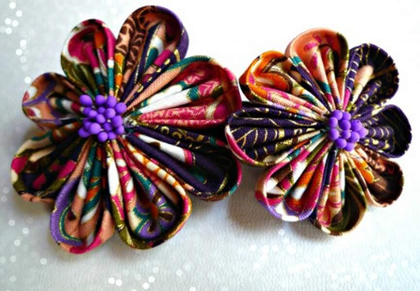 Barrette deux fleurs origami