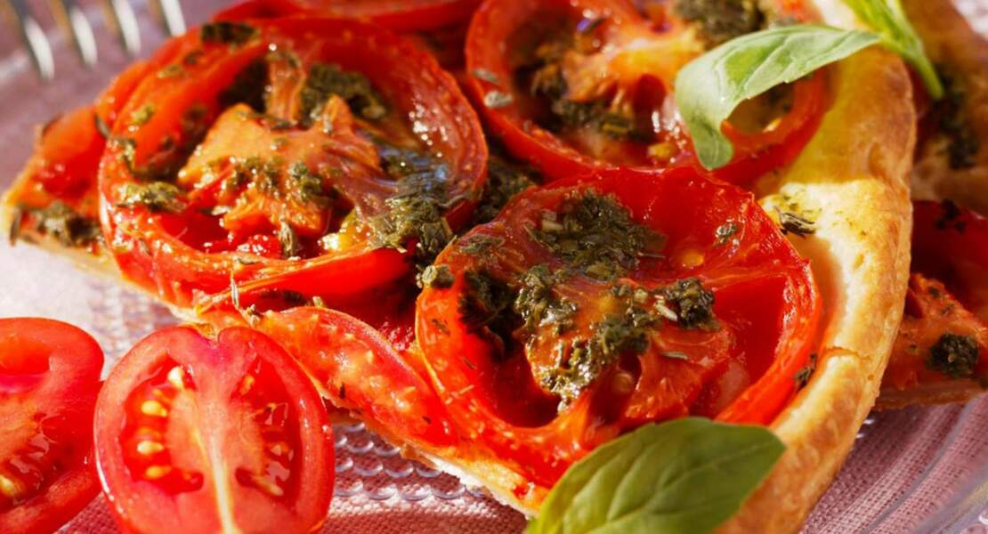 Tarte fine tomates et pesto