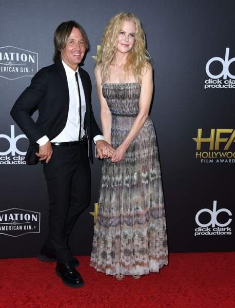 Nicole Kidman et Keith Urban à la cérémonie des Hollywood Film Awards le 4 novembre 2018.