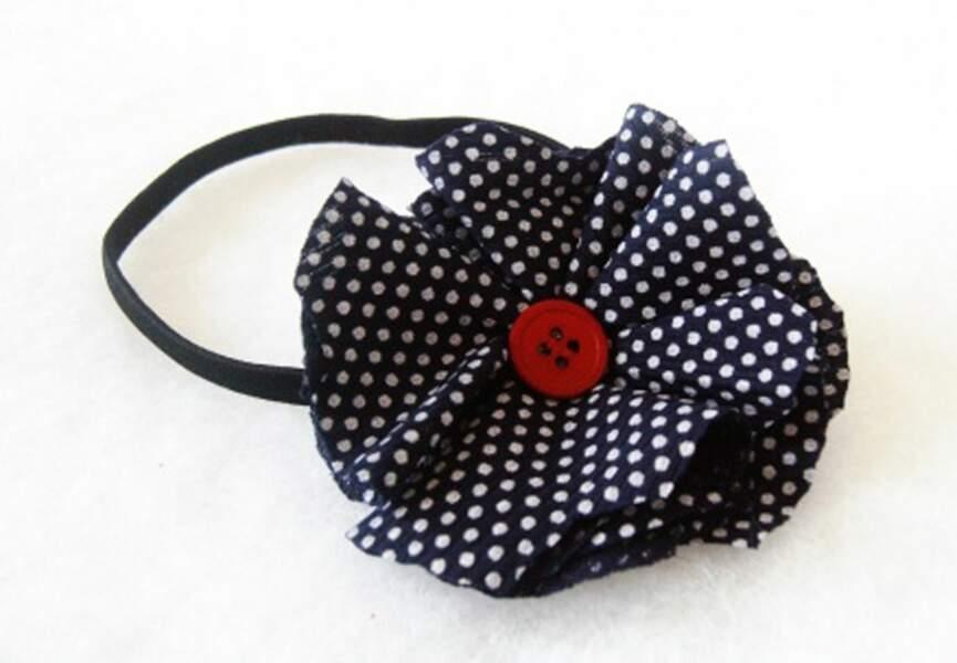 Headband Fleur en tissu bleu marine