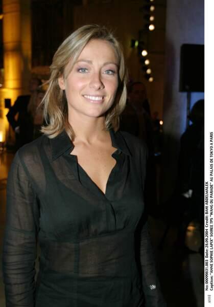 """Anne-Sophie Lapix lors de la soirée TPS """"Wang du parade"""" au Palais de Tokyo en septembre 2004."""