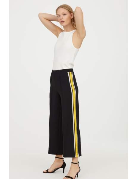 Pantalon tendance : pantalon large à bandes