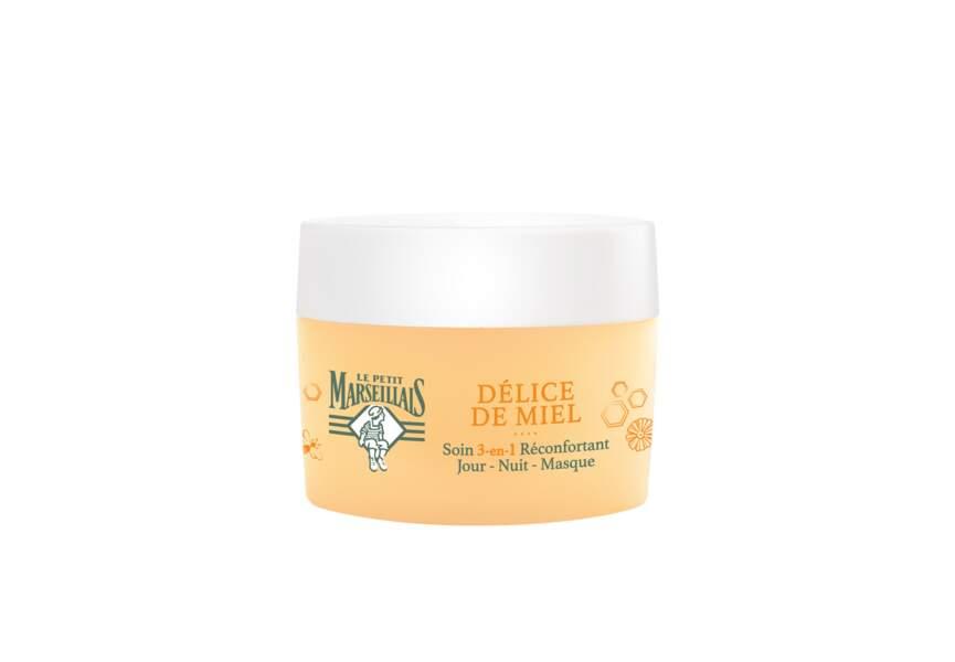 Le meilleur soin visage en grande distribution : Soin 3 en 1 réconfortant Délice de Miel Le Petit Marseillais