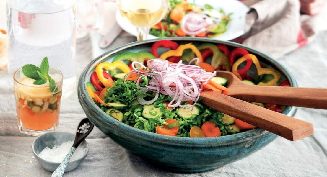 Salade libanaise aux poivrons et courgettes