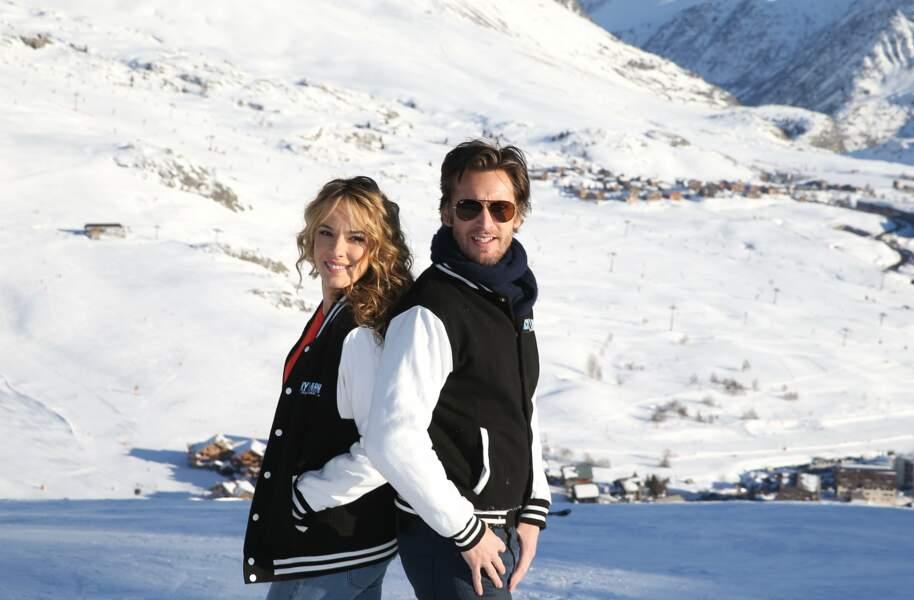"""Elodie Fontan et Philippe Lacheau lors du photocall de """"Nicky Larson et le parfum de Cupidon""""..."""