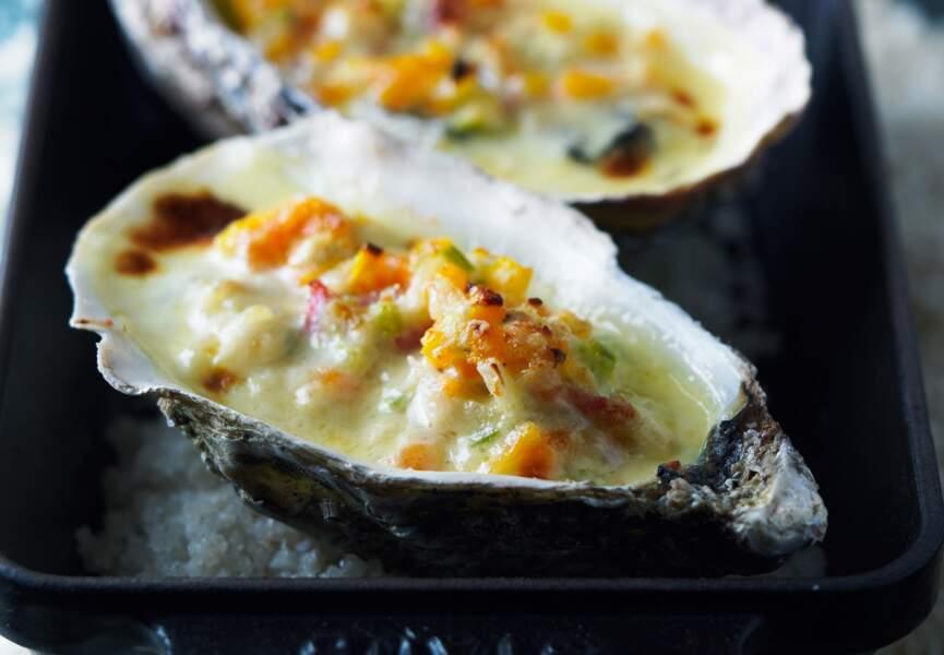 Huîtres gratinées aux lardons