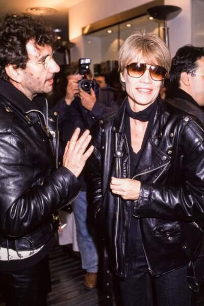 Richard Gotainer et Françoise Hardy lors de la soirée Virgin à Paris en novembre 1988.
