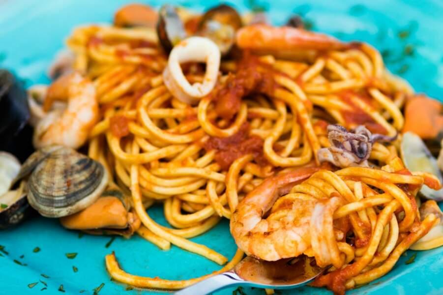 Spaghettoni alla chitarra et salade de fruits de mer