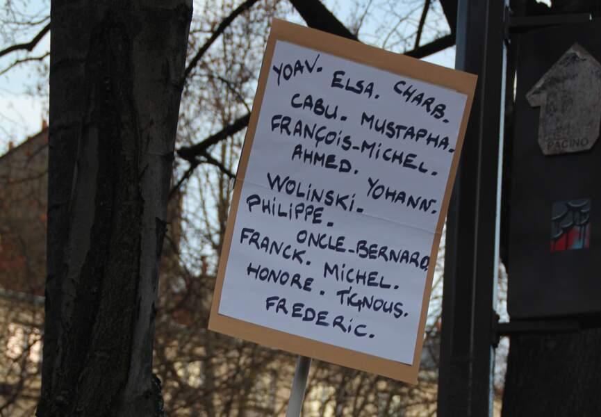 Les noms des victimes en toutes lettres