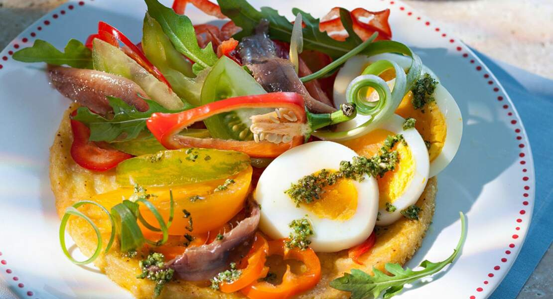 Socca et ses petits légumes