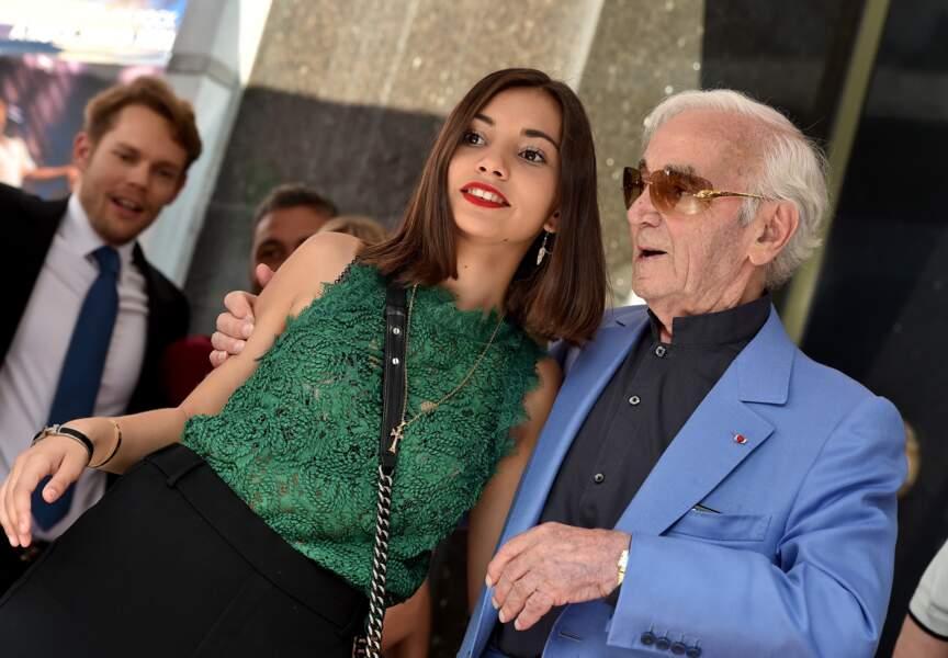 Charles Aznavour et Leila sur le Hollywood Walk of Fame à Los Angeles