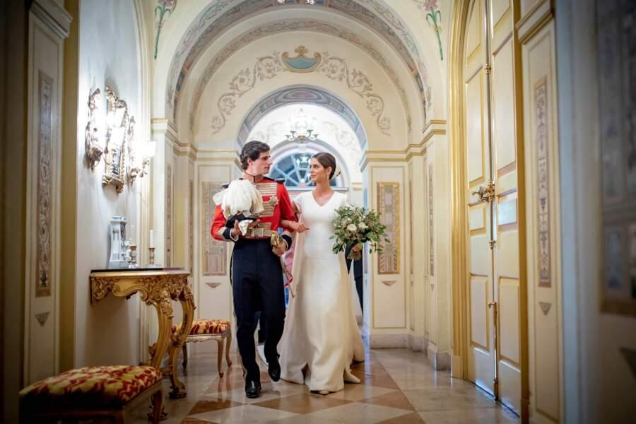 Fernando Fitz-James Stuart et Sofia Palazuelo à l'intérieur du palais de Liria à Madrid
