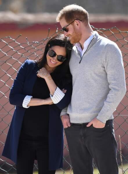 Le prince Harry et Meghan Markle enceinte lors de leur premier voyage officiel au Maroc, février 2019