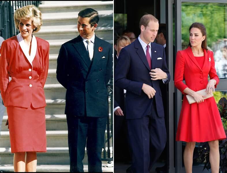 Lady Di a inspiré Kate Middleton en matière de mode. Sortie officielle en rouge vif...