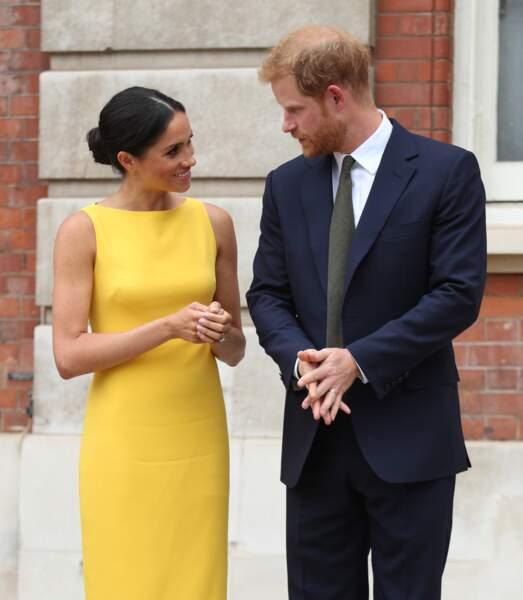 Le prince Harry et Meghan Markle, assistent une réception du Commonwealth à Londres, le 5 juillet 2018