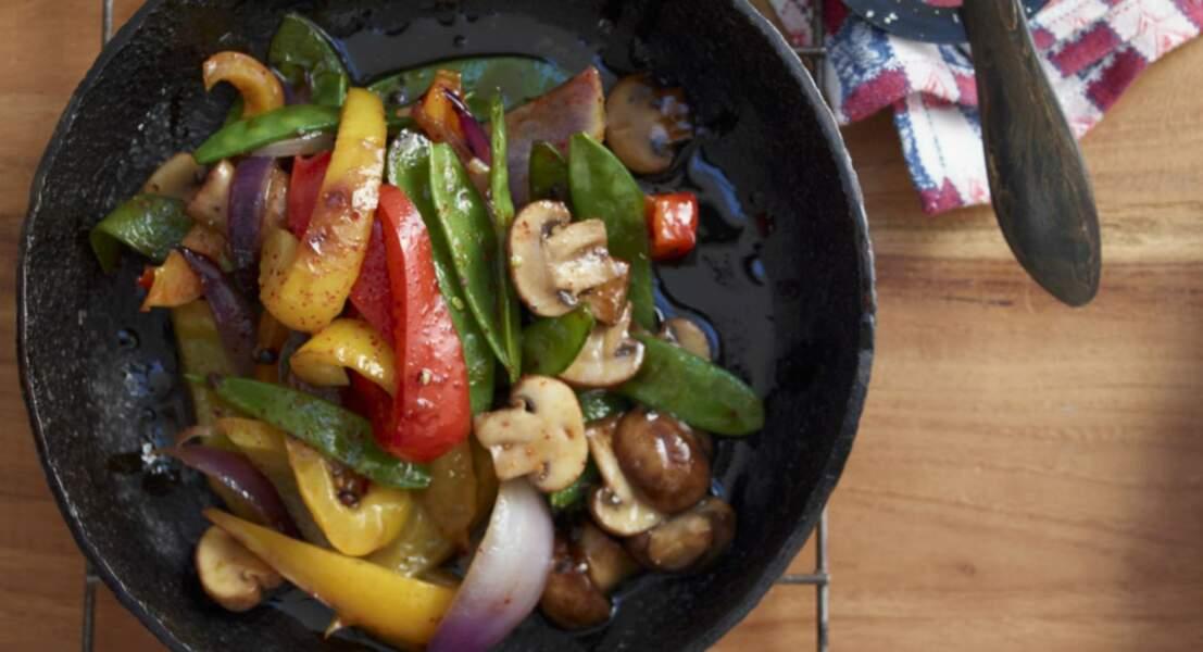 Poêlée aux petits poivrons et champignons